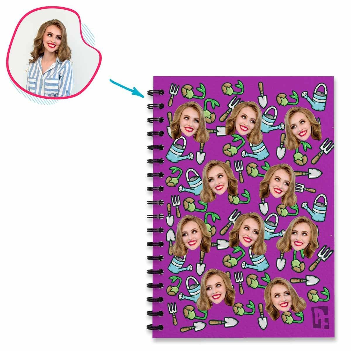 purple Gardening Notebook personalized with photo of face printed on them