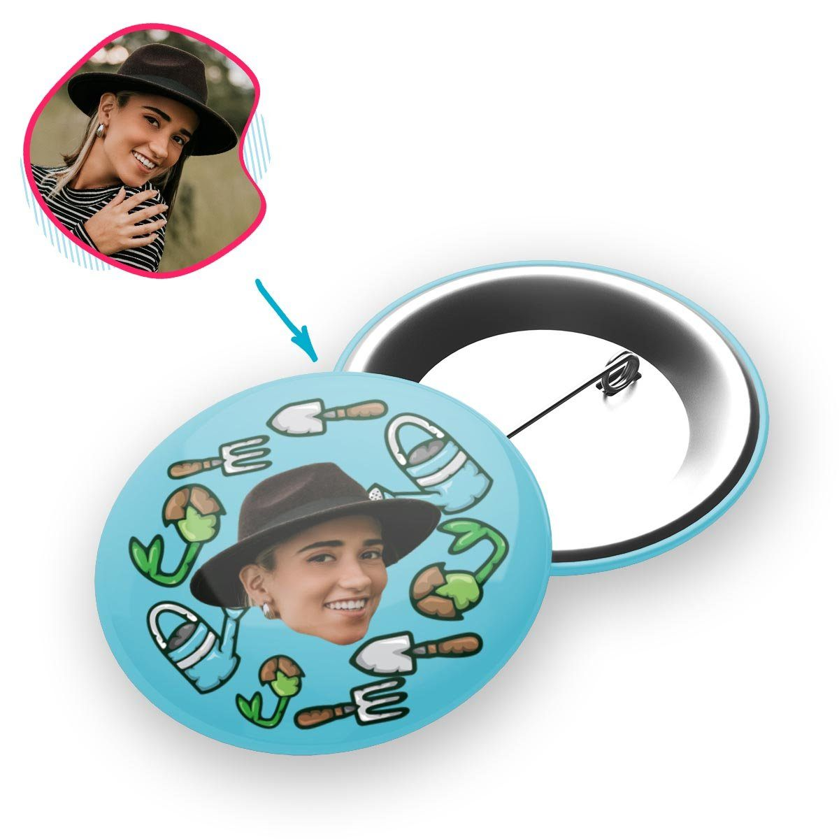 blue Gardening pin personalized with photo of face printed on it