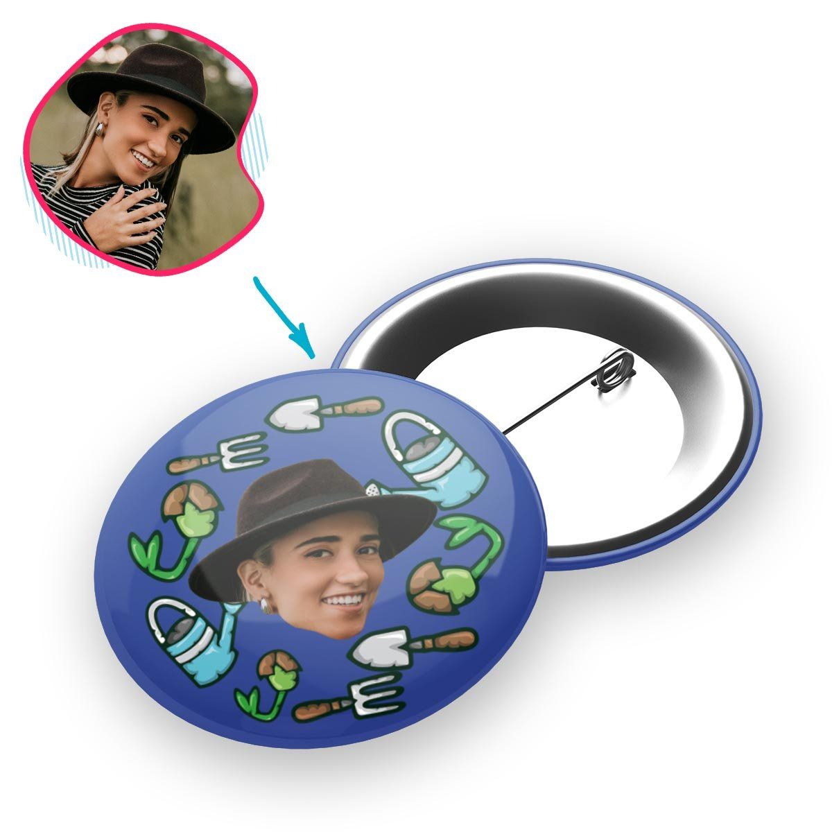 darkblue Gardening pin personalized with photo of face printed on it