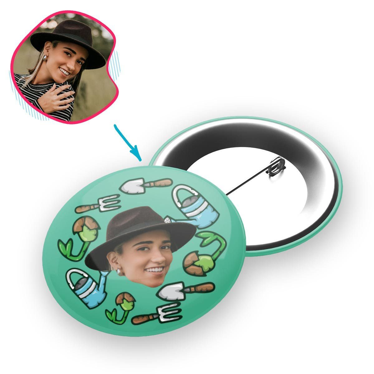 mint Gardening pin personalized with photo of face printed on it