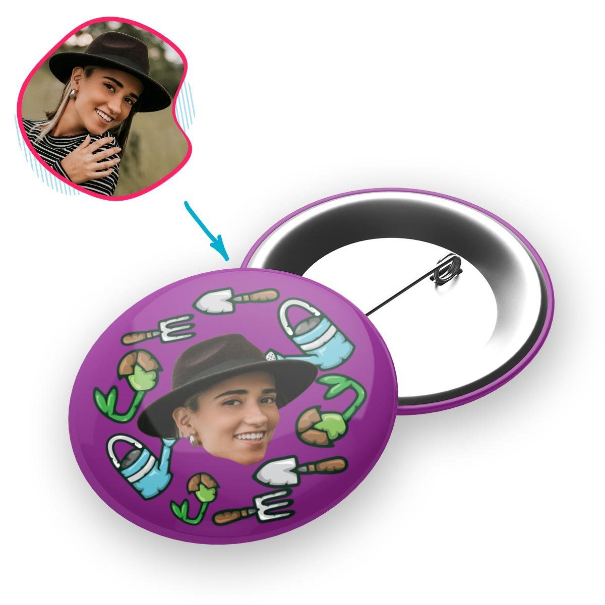 purple Gardening pin personalized with photo of face printed on it
