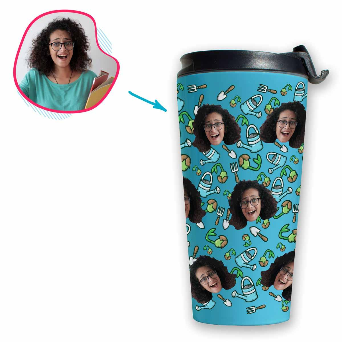blue Gardening travel mug personalized with photo of face printed on it