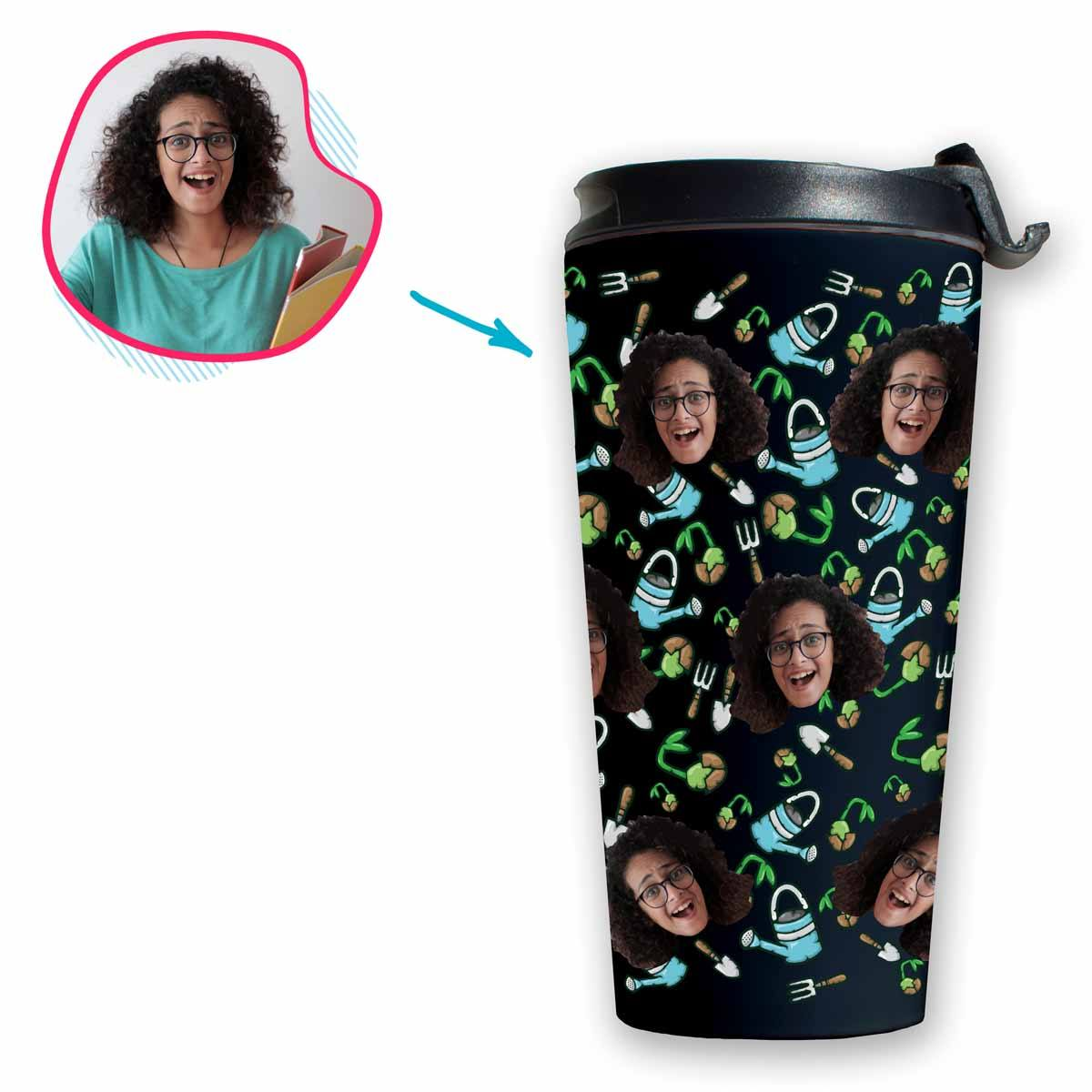 dark Gardening travel mug personalized with photo of face printed on it