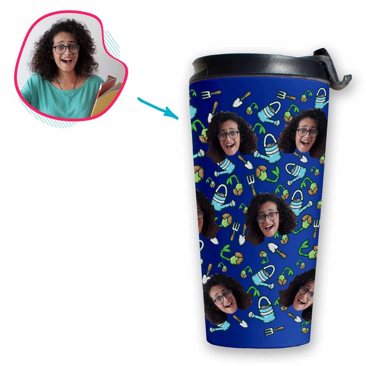 darkblue Gardening travel mug personalized with photo of face printed on it