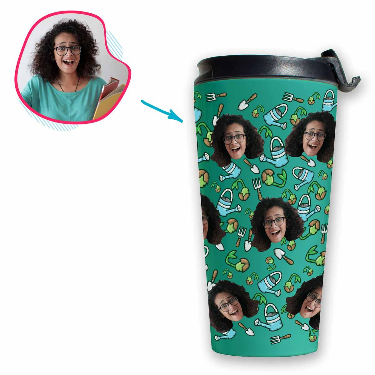 mint Gardening travel mug personalized with photo of face printed on it