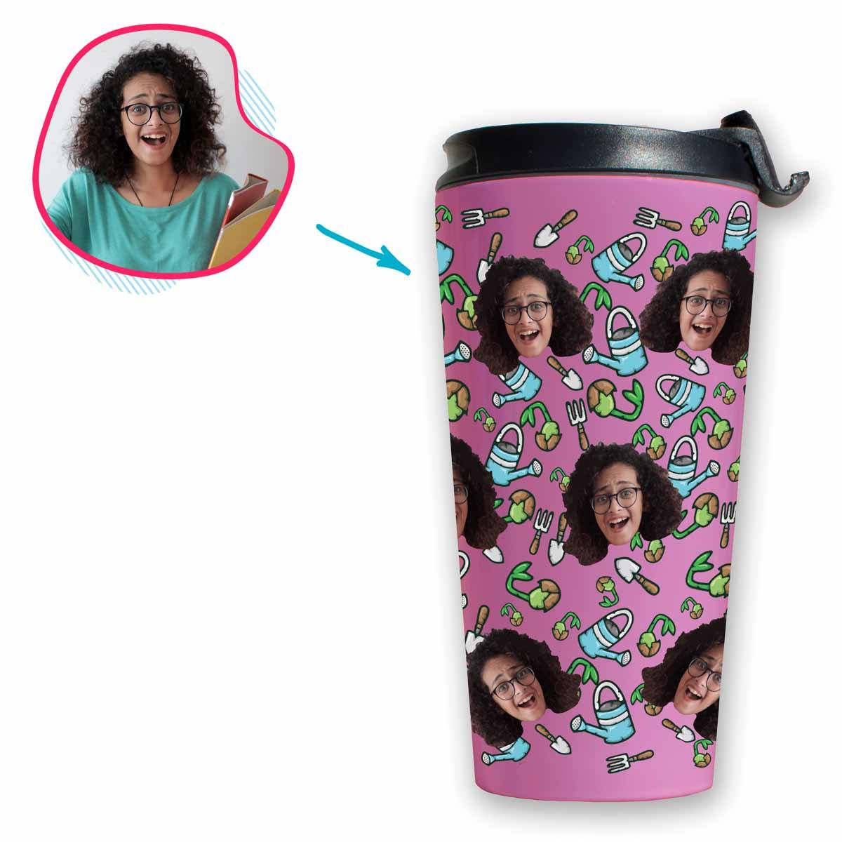 pink Gardening travel mug personalized with photo of face printed on it