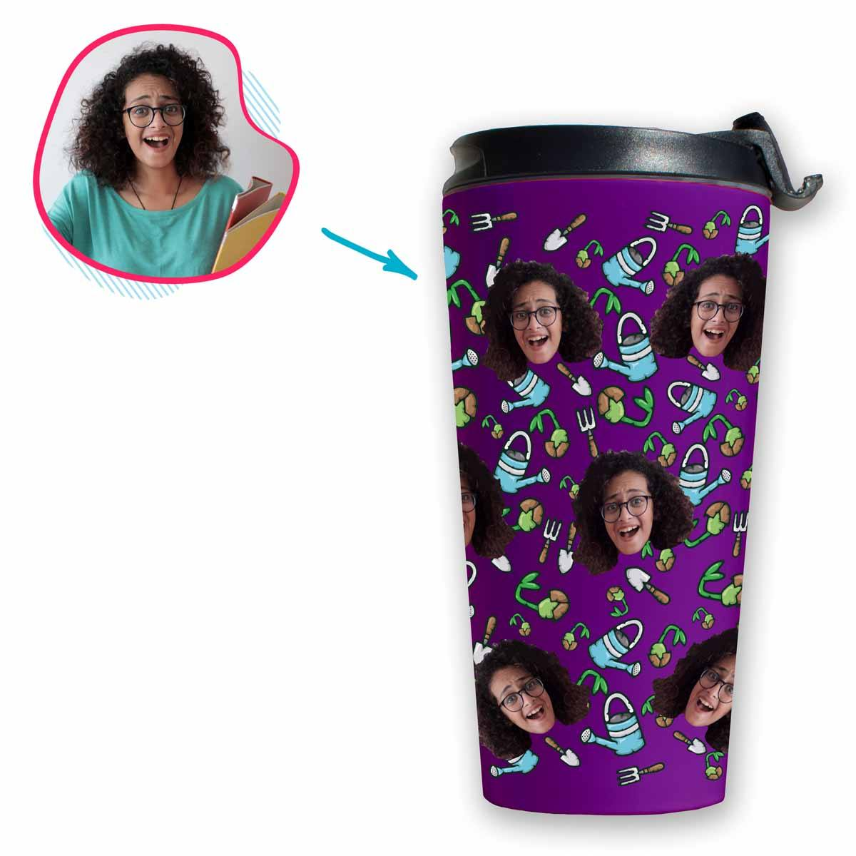 purple Gardening travel mug personalized with photo of face printed on it