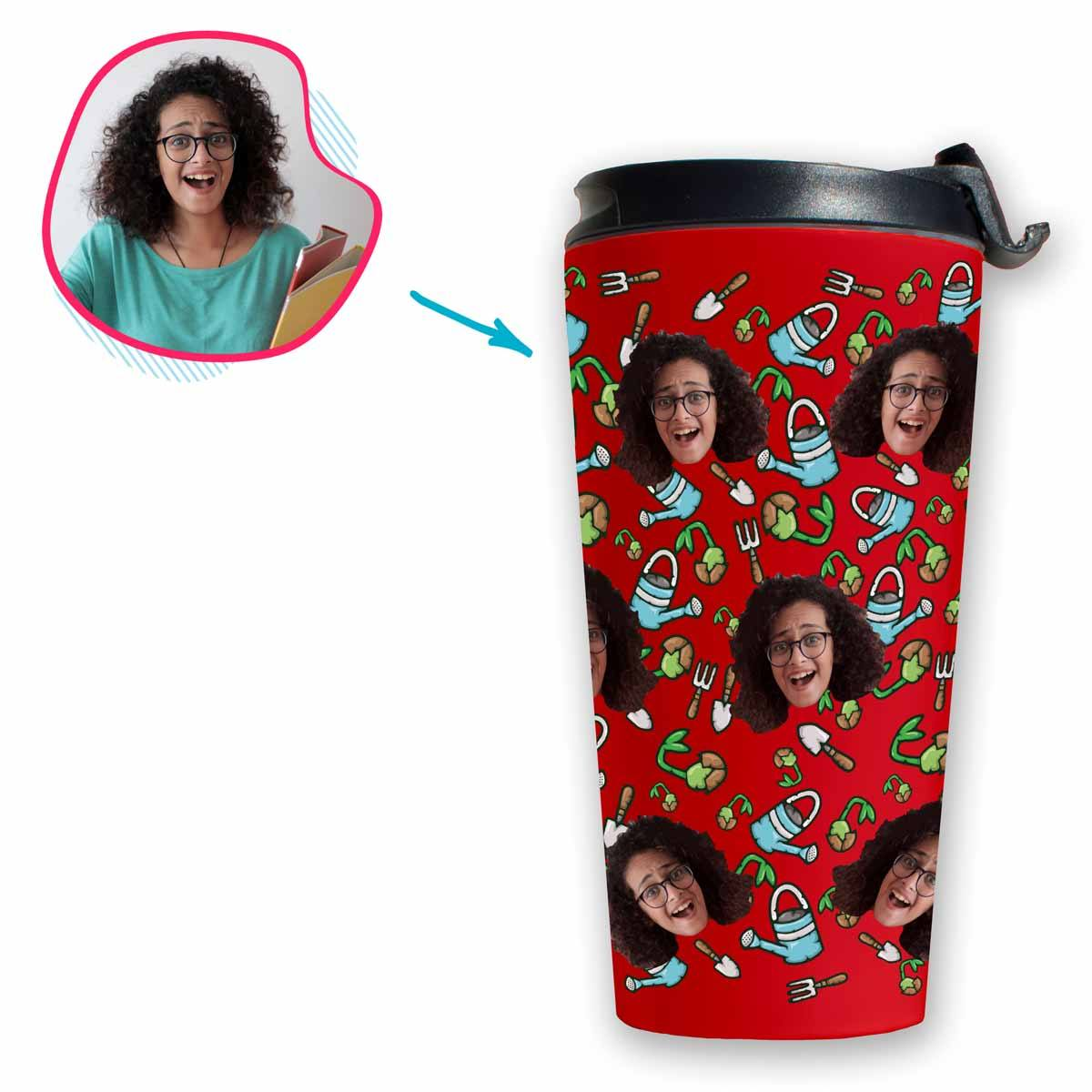 red Gardening travel mug personalized with photo of face printed on it