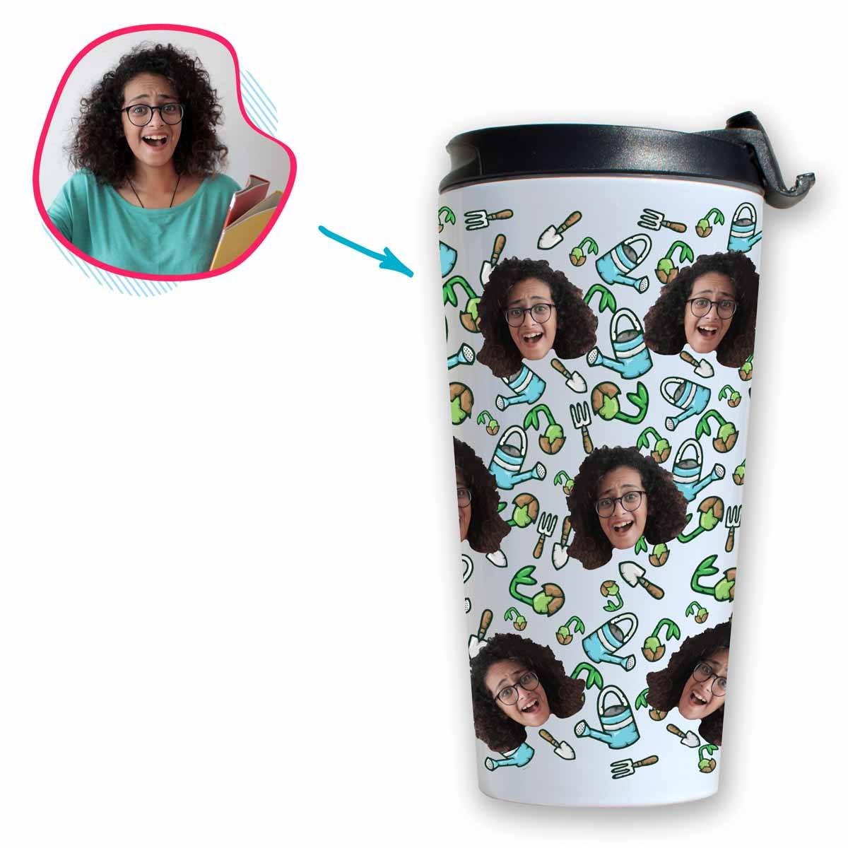 white Gardening travel mug personalized with photo of face printed on it