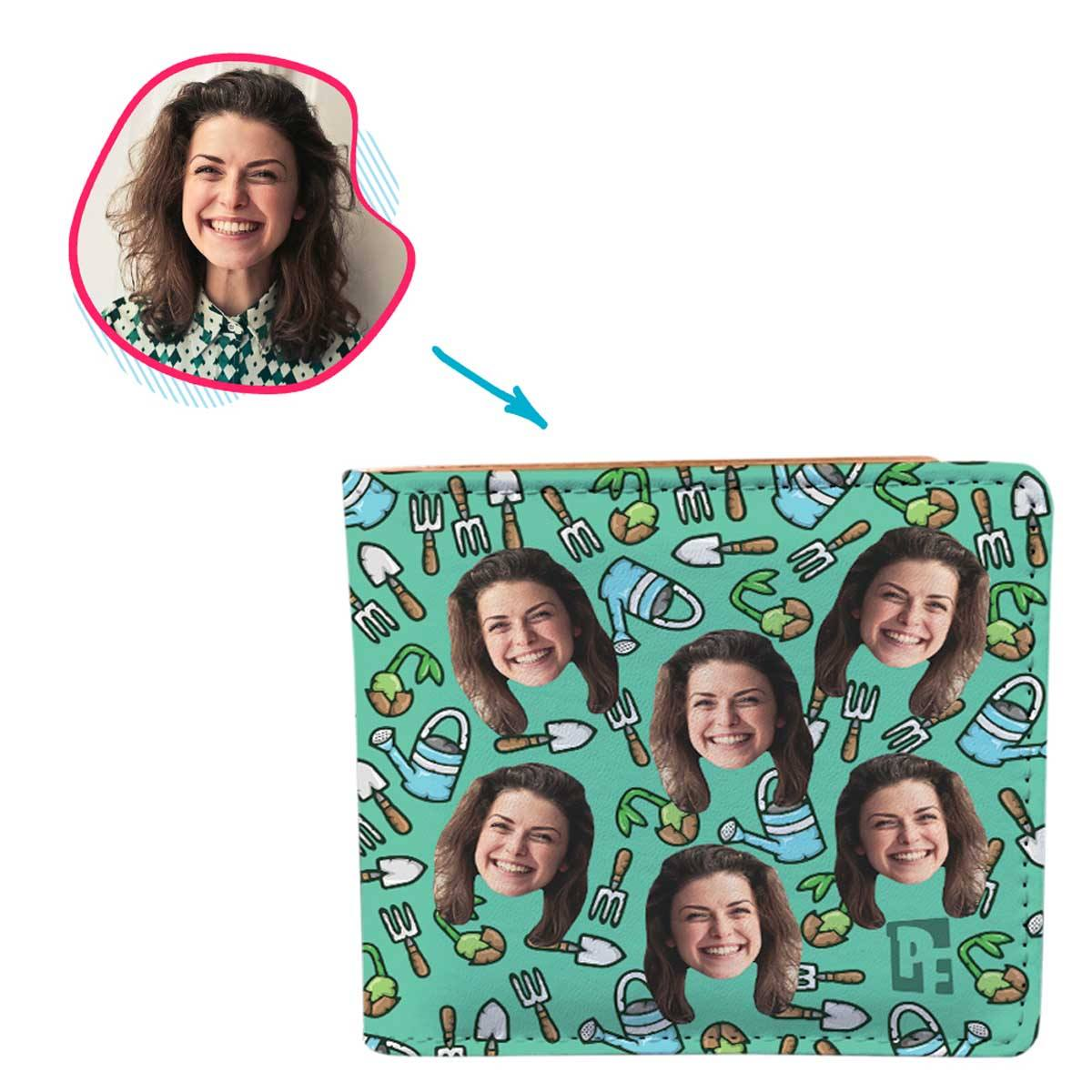 mint Gardening wallet personalized with photo of face printed on it