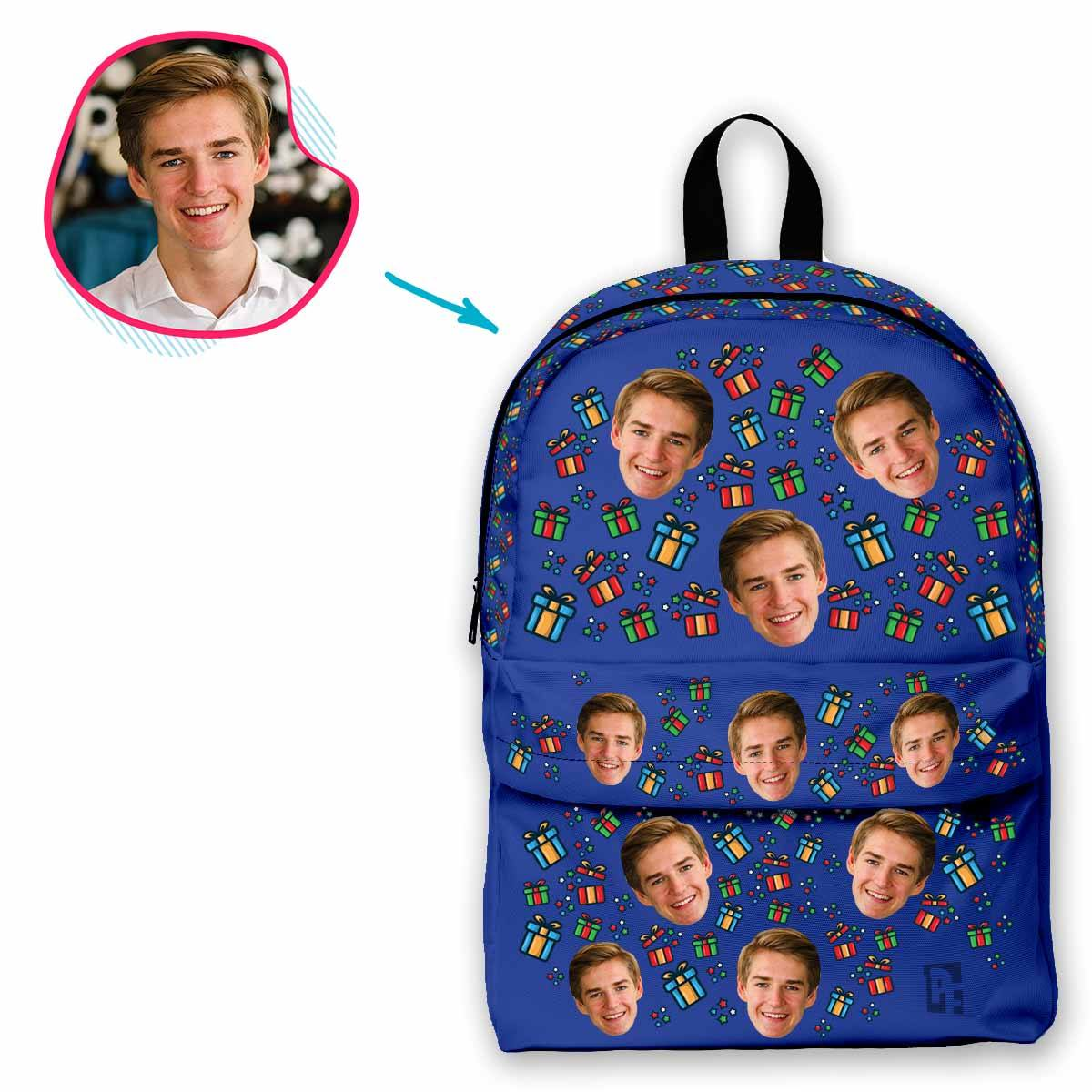 darkblue Gift Box classic backpack personalized with photo of face printed on it