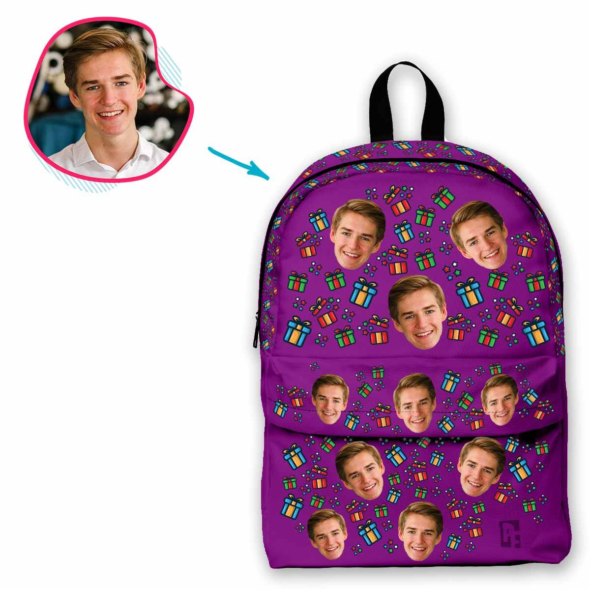 purple Gift Box classic backpack personalized with photo of face printed on it