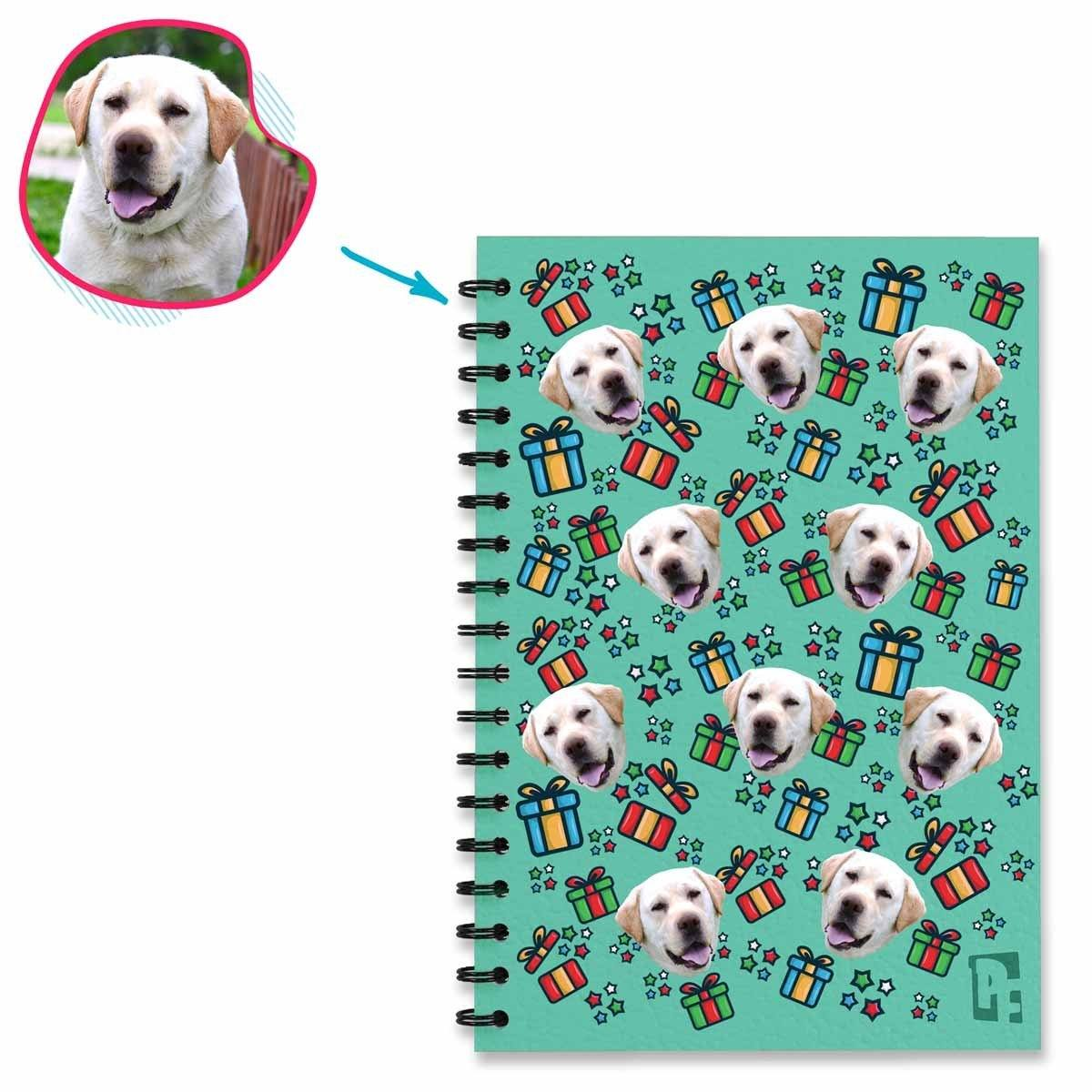 mint Gift Box Notebook personalized with photo of face printed on them