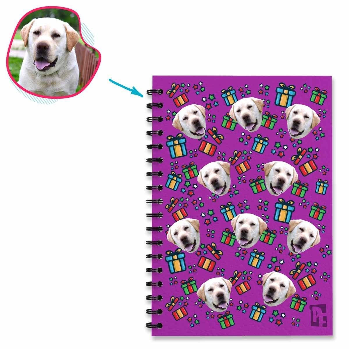 purple Gift Box Notebook personalized with photo of face printed on them