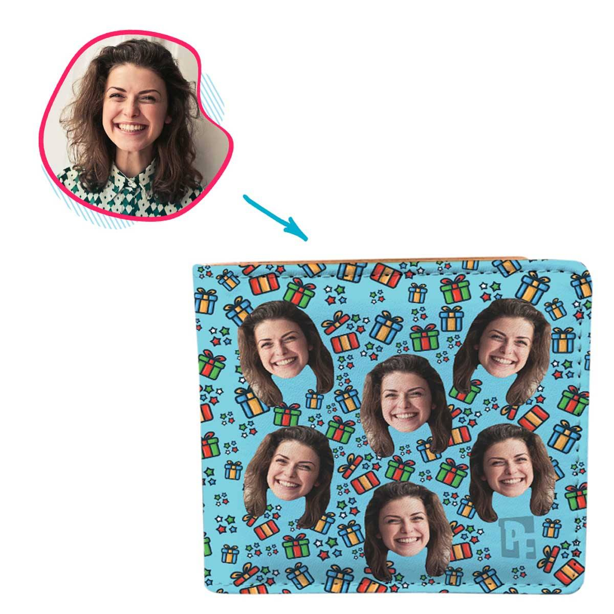 blue Gift Box wallet personalized with photo of face printed on it