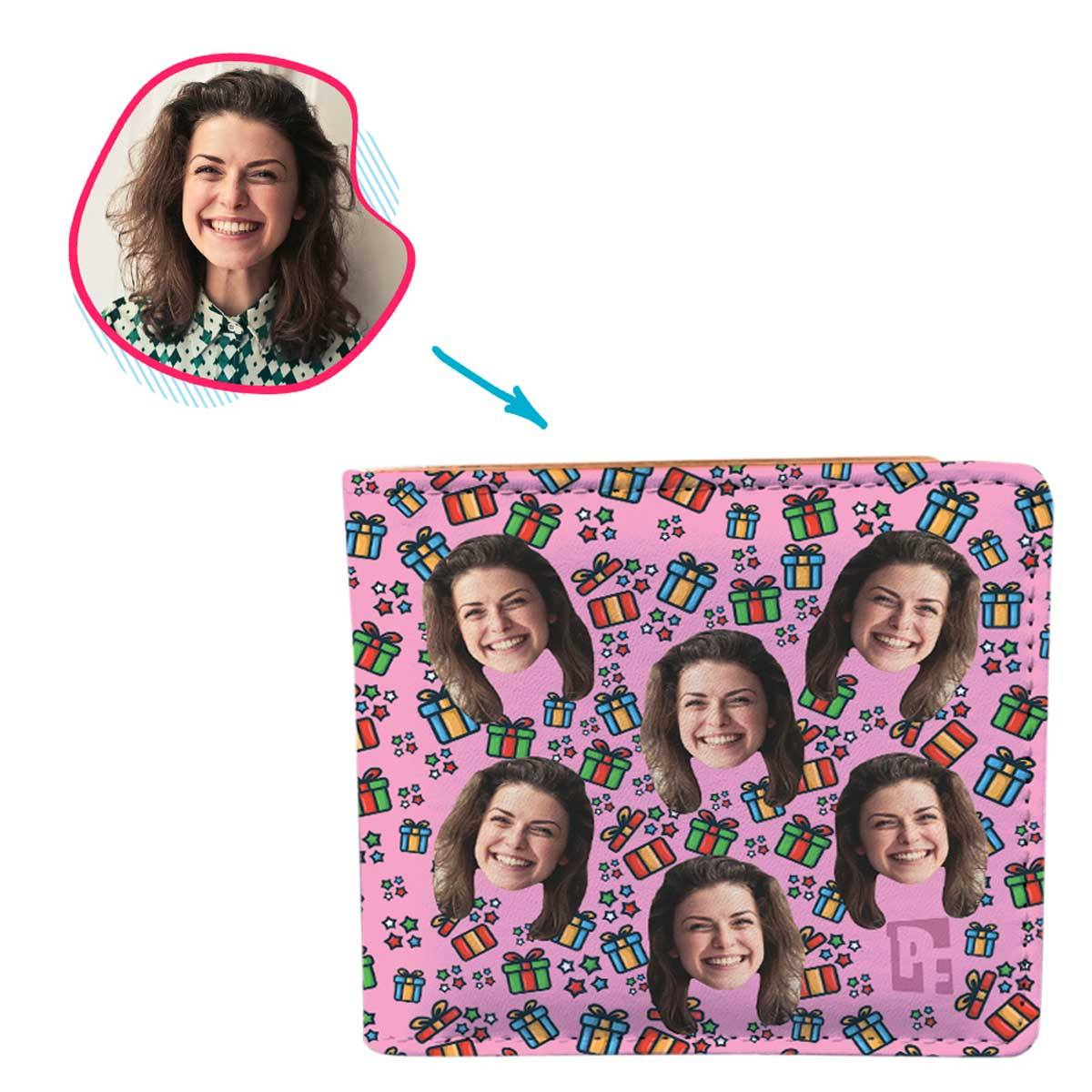 pink Gift Box wallet personalized with photo of face printed on it