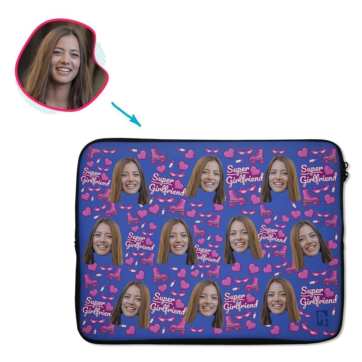 Darkblue Girlfriend personalized socks with photo of face printed on them