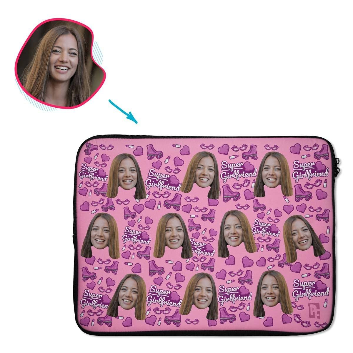 Pink Girlfriend personalized socks with photo of face printed on them