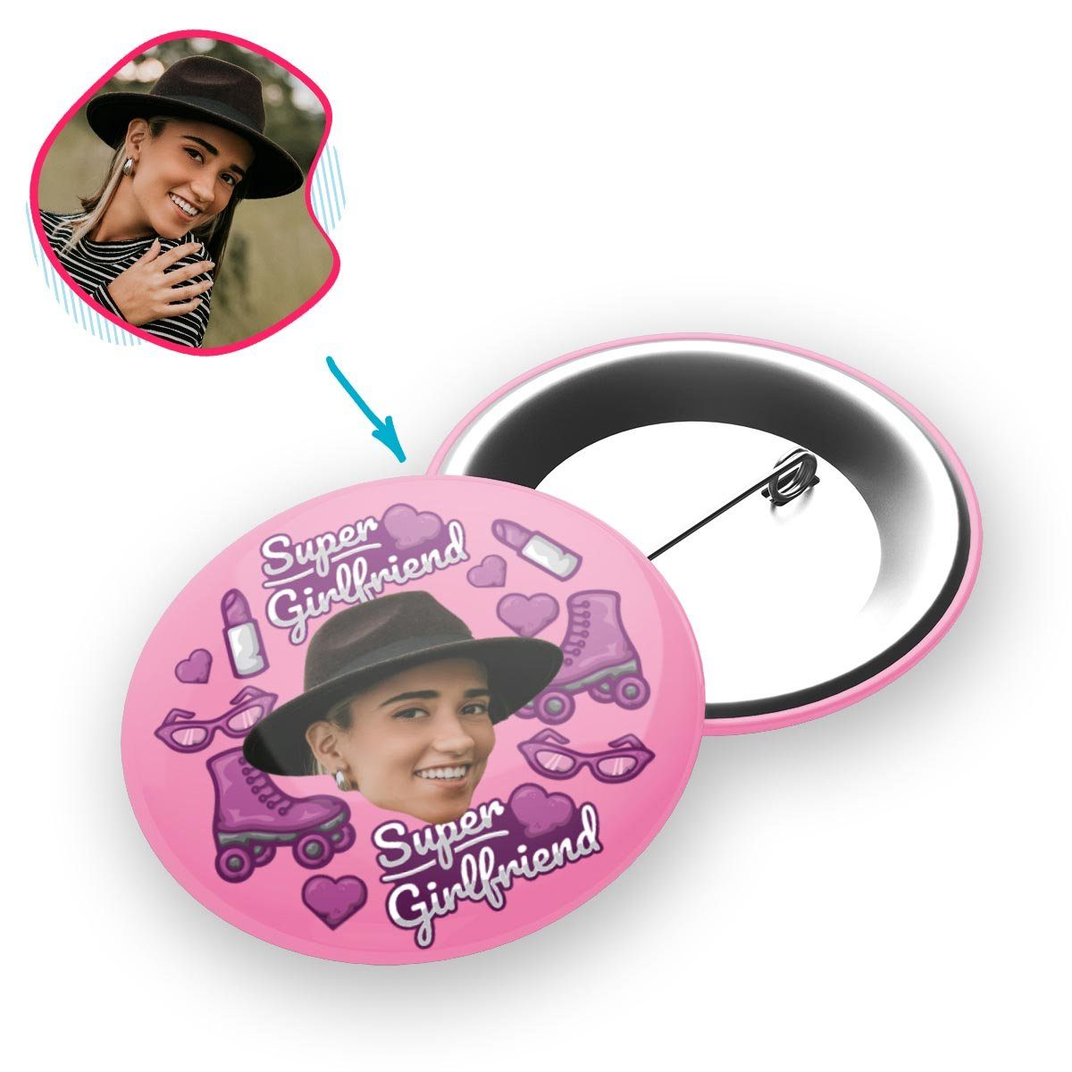 Pink Girlfriend personalized pin with photo of face printed on it