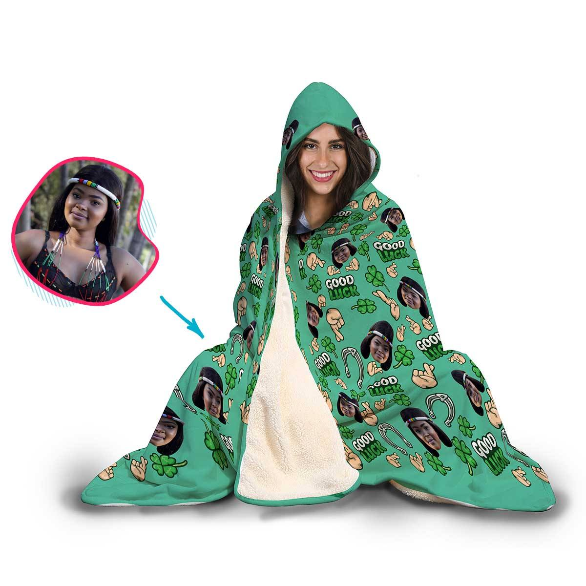 Good Luck Personalized Hooded Blanket