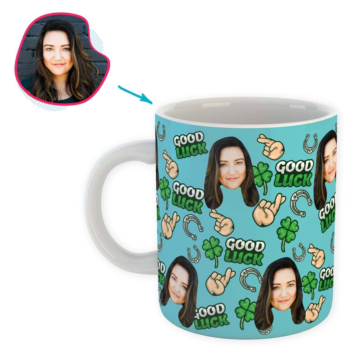 Blue Good Luck personalized mug with photo of face printed on it