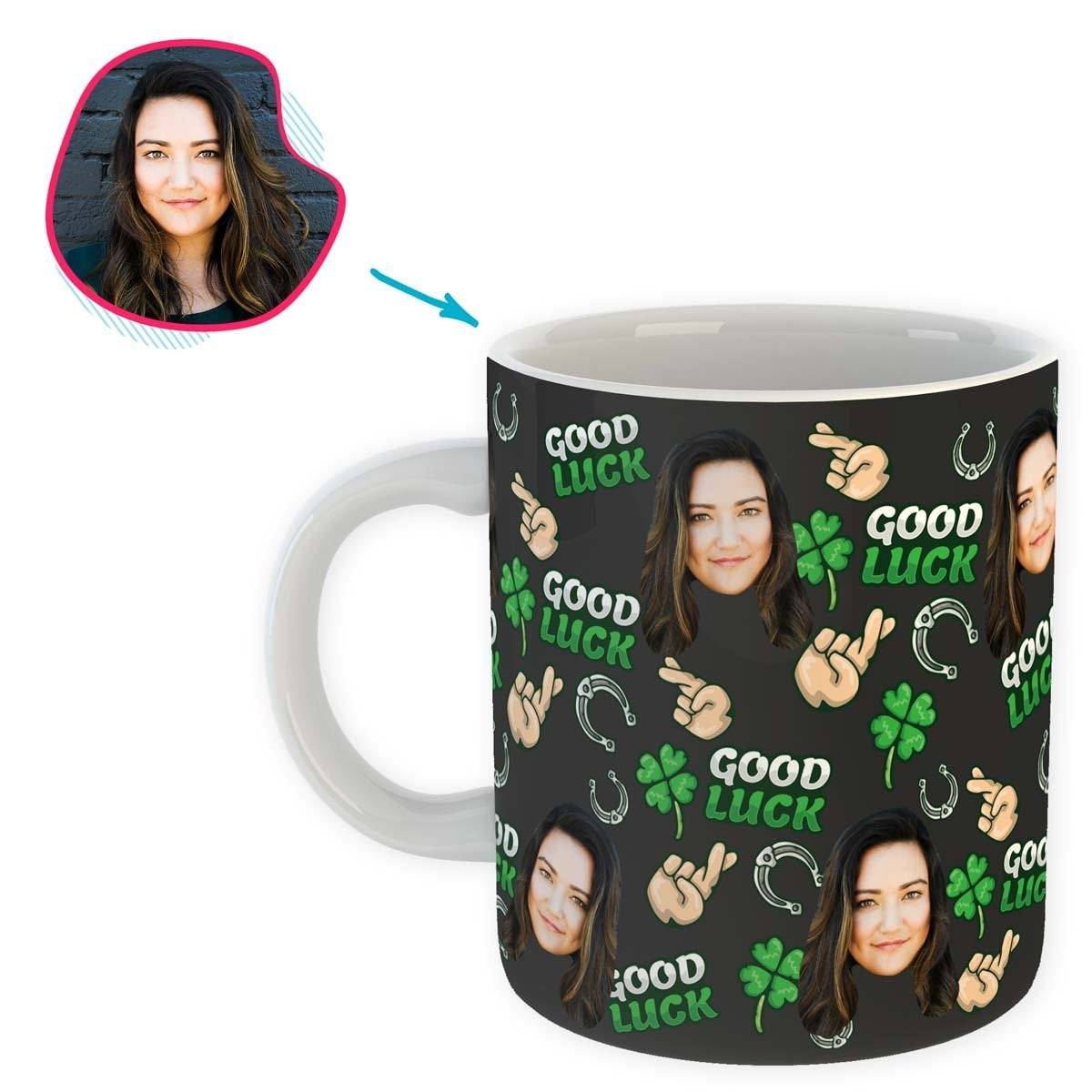Dark Good Luck personalized mug with photo of face printed on it