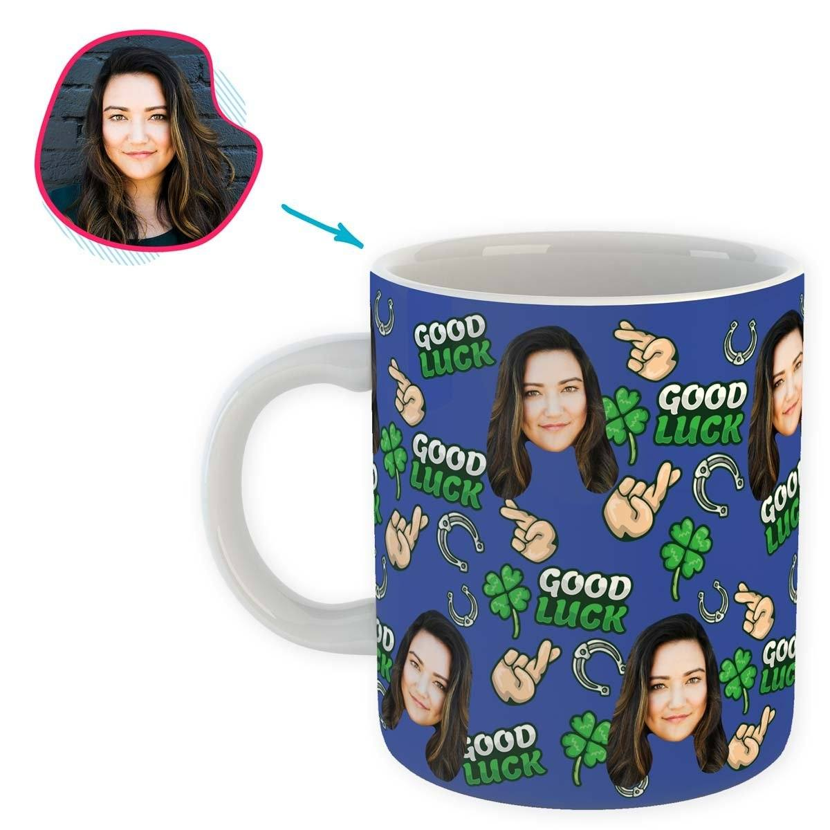 Darkblue Good Luck personalized mug with photo of face printed on it