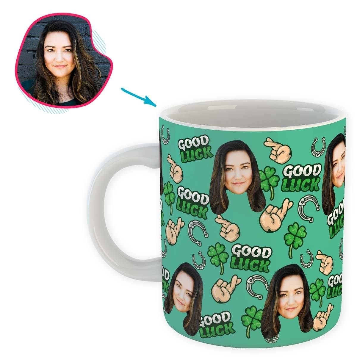 Mint Good Luck personalized mug with photo of face printed on it