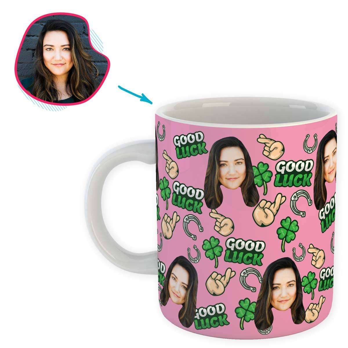 Pink Good Luck personalized mug with photo of face printed on it