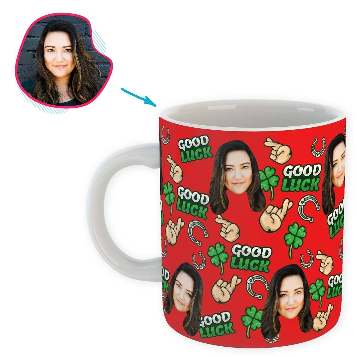 Red Good Luck personalized mug with photo of face printed on it