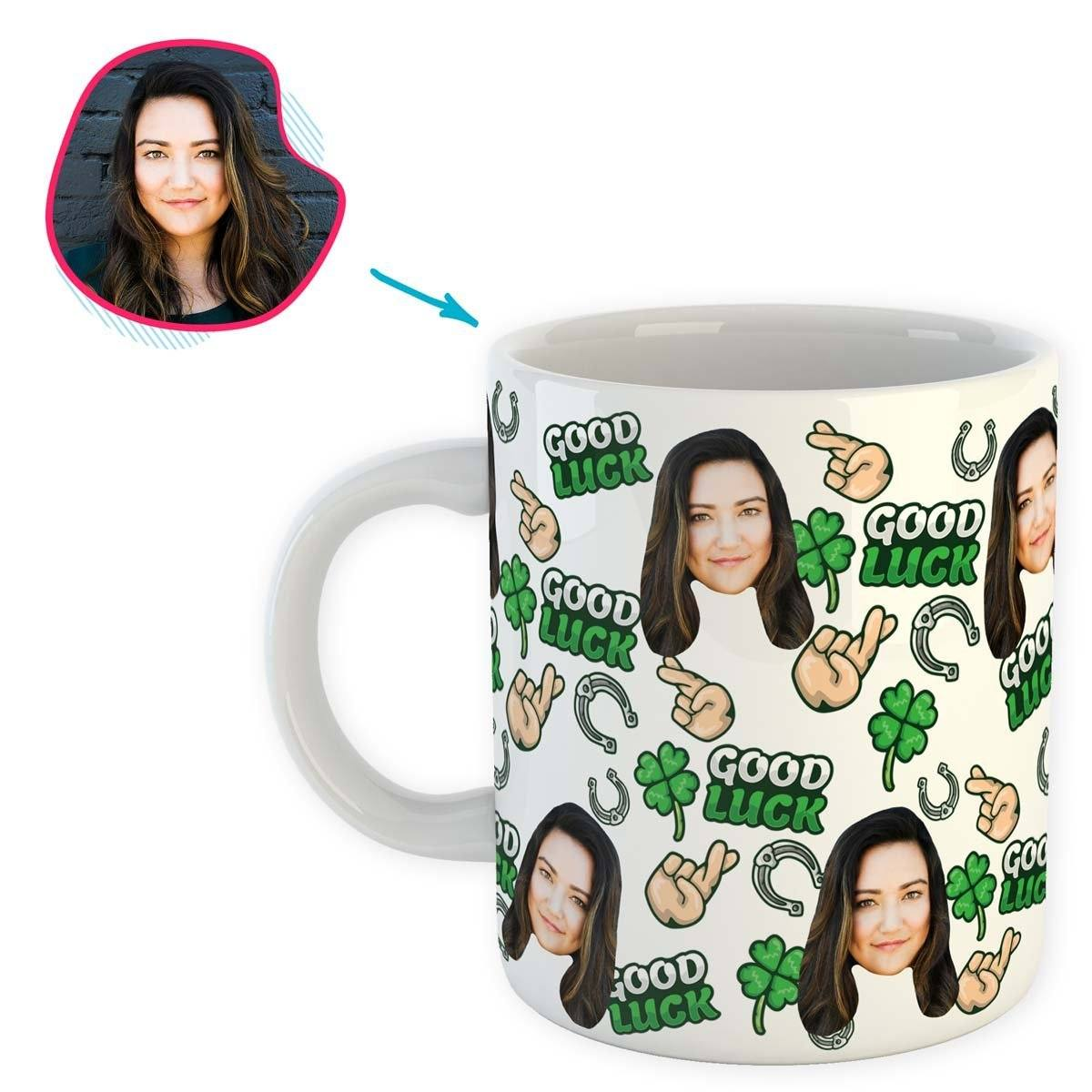 White Good Luck personalized mug with photo of face printed on it