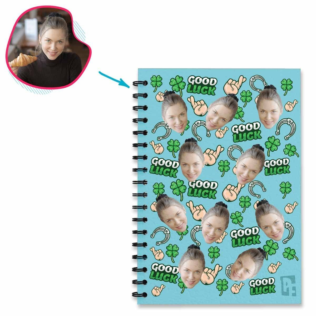 Blue Auntie personalized notebook with photo of face printed on them