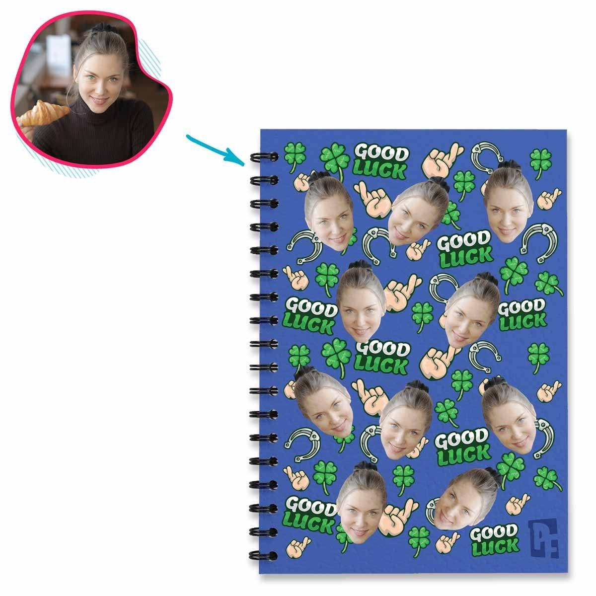 Darkblue Auntie personalized notebook with photo of face printed on them