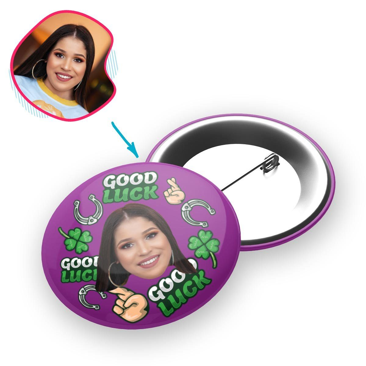 Good Luck Personalized Pin Button