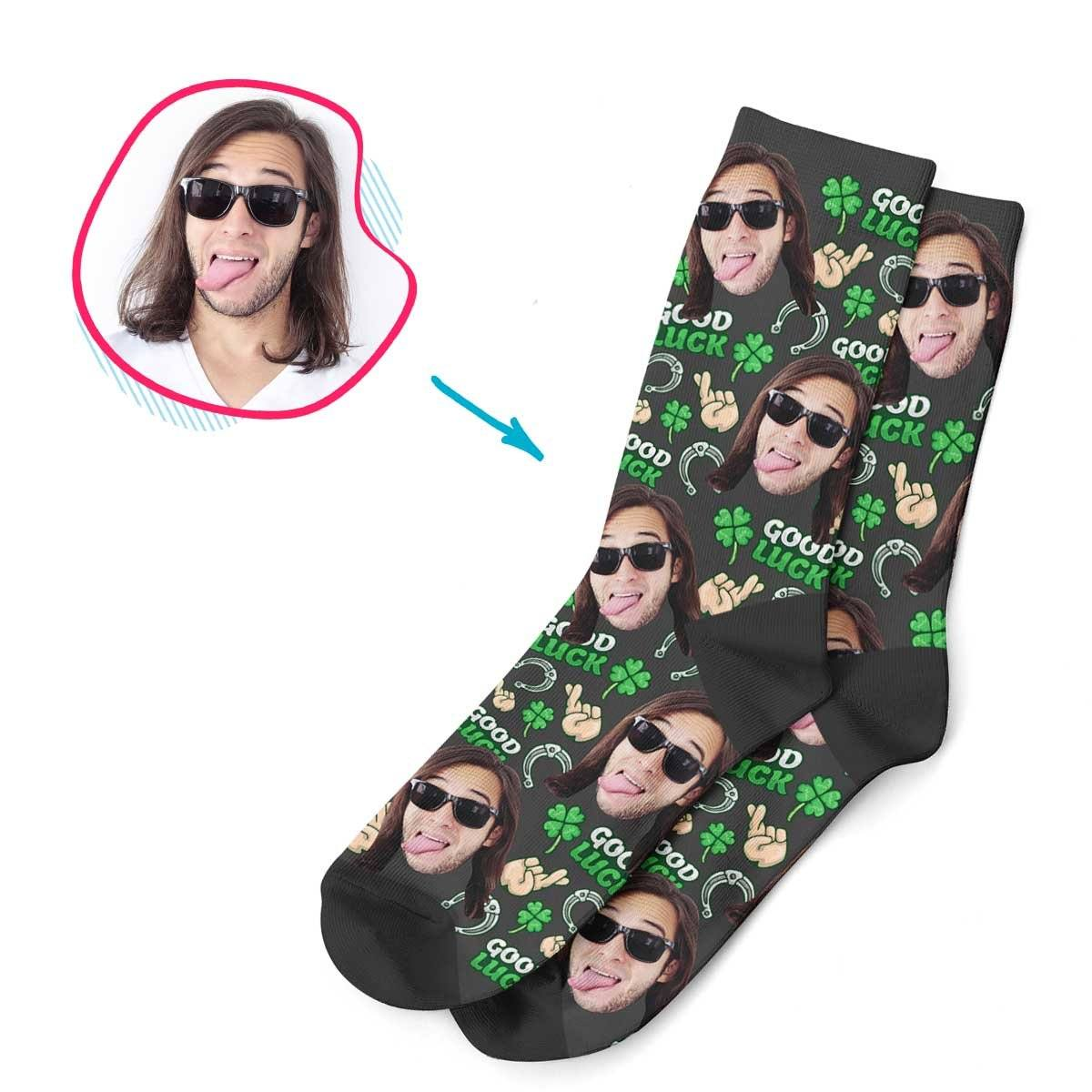 Dark Good Luck personalized socks with photo of face printed on them
