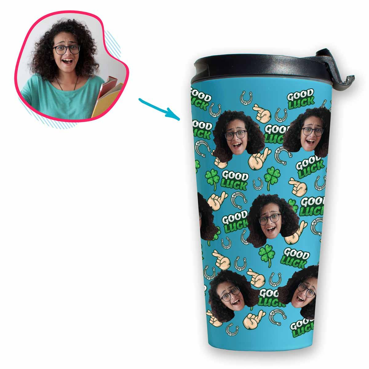 Blue Good Luck personalized travel mug with photo of face printed on it
