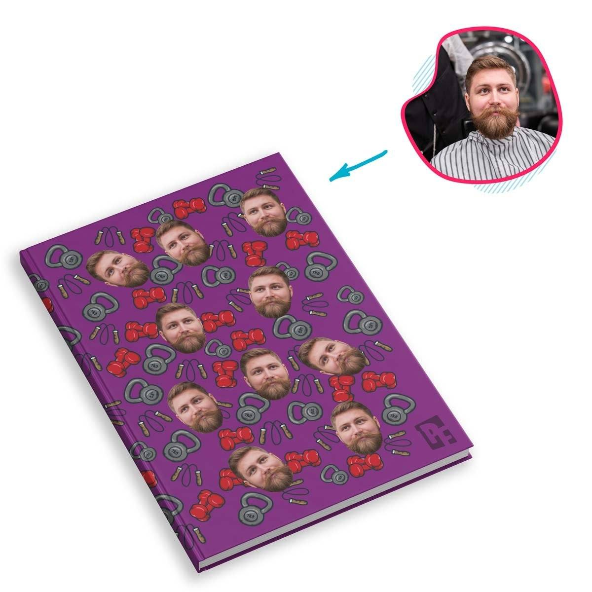 purple Gym & Fitness Notebook personalized with photo of face printed on them
