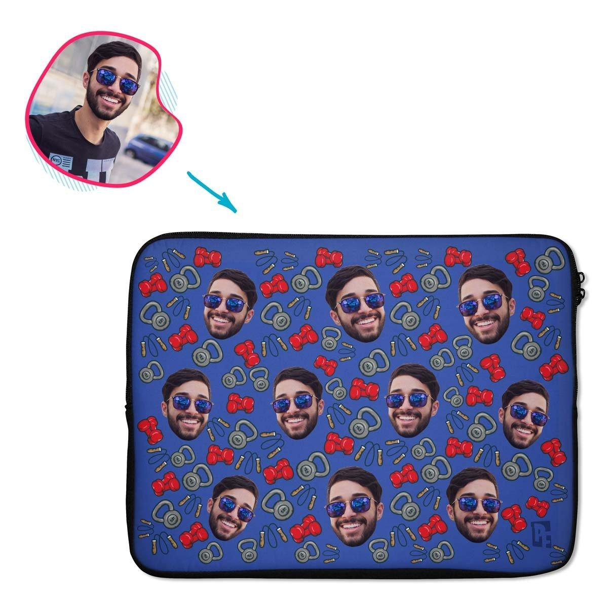 darkblue Gym & Fitness laptop sleeve personalized with photo of face printed on them