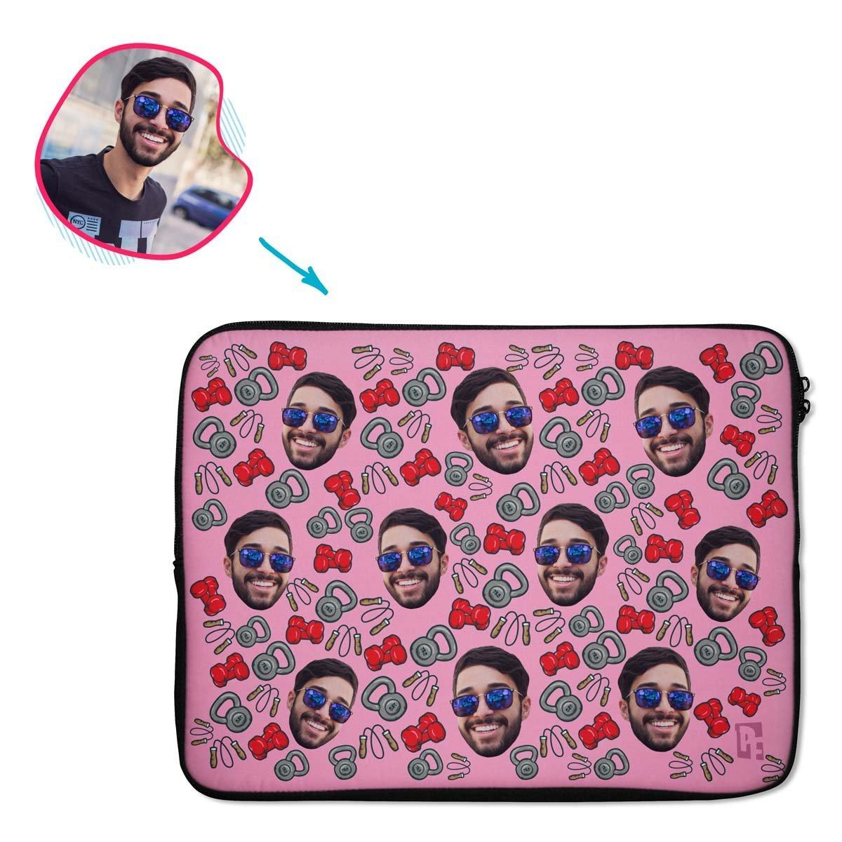 pink Gym & Fitness laptop sleeve personalized with photo of face printed on them