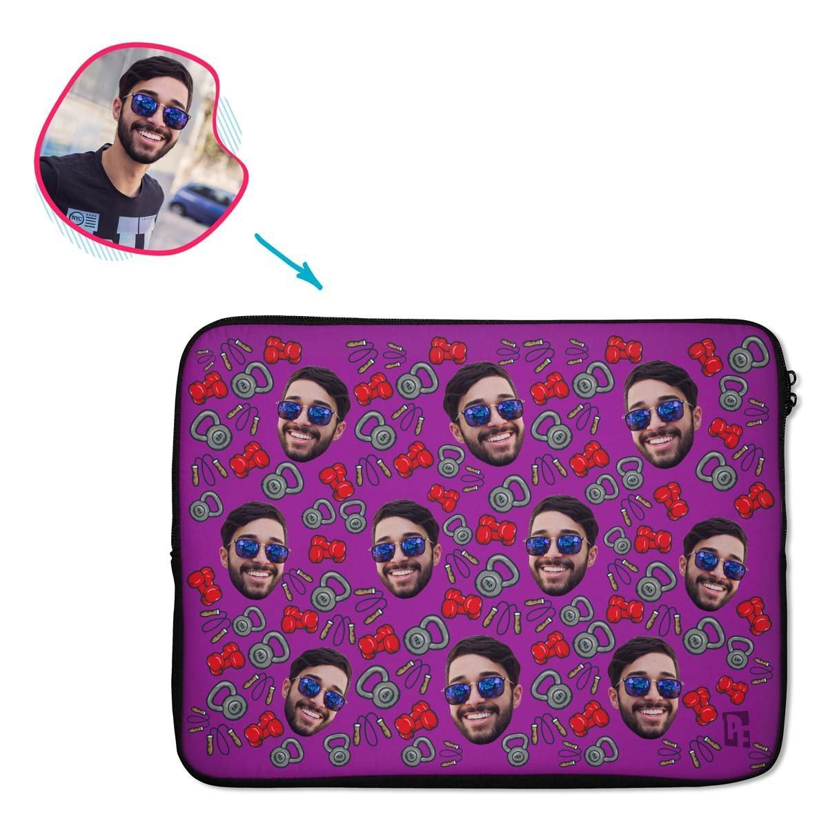purple Gym & Fitness laptop sleeve personalized with photo of face printed on them