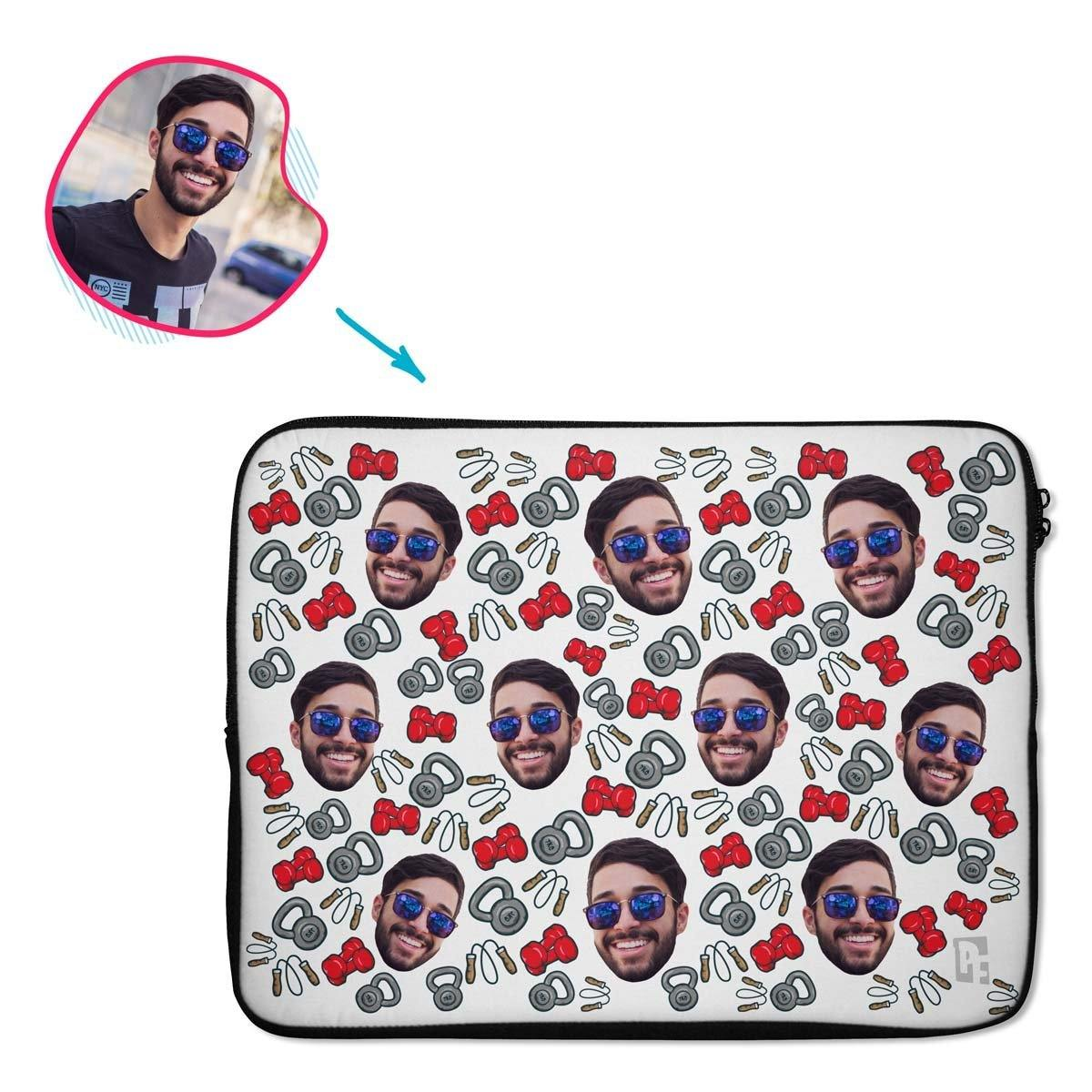white Gym & Fitness laptop sleeve personalized with photo of face printed on them