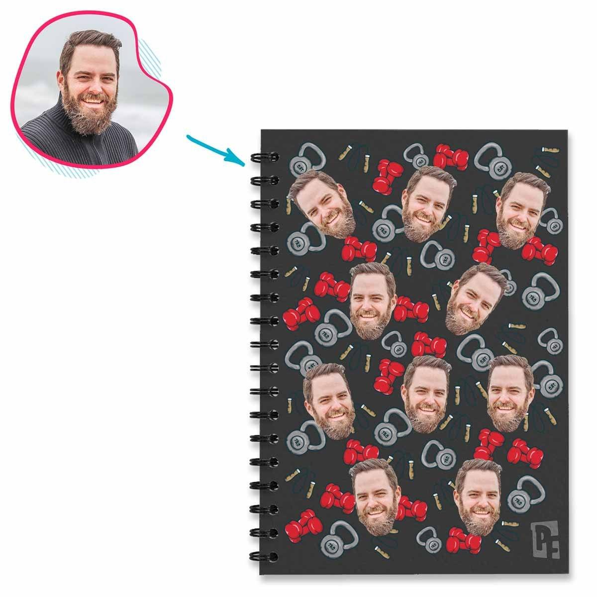 dark Gym & Fitness Notebook personalized with photo of face printed on them