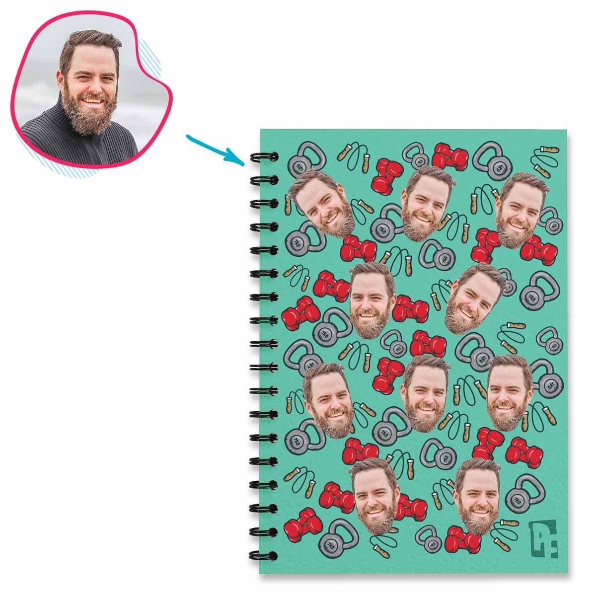 mint Gym & Fitness Notebook personalized with photo of face printed on them