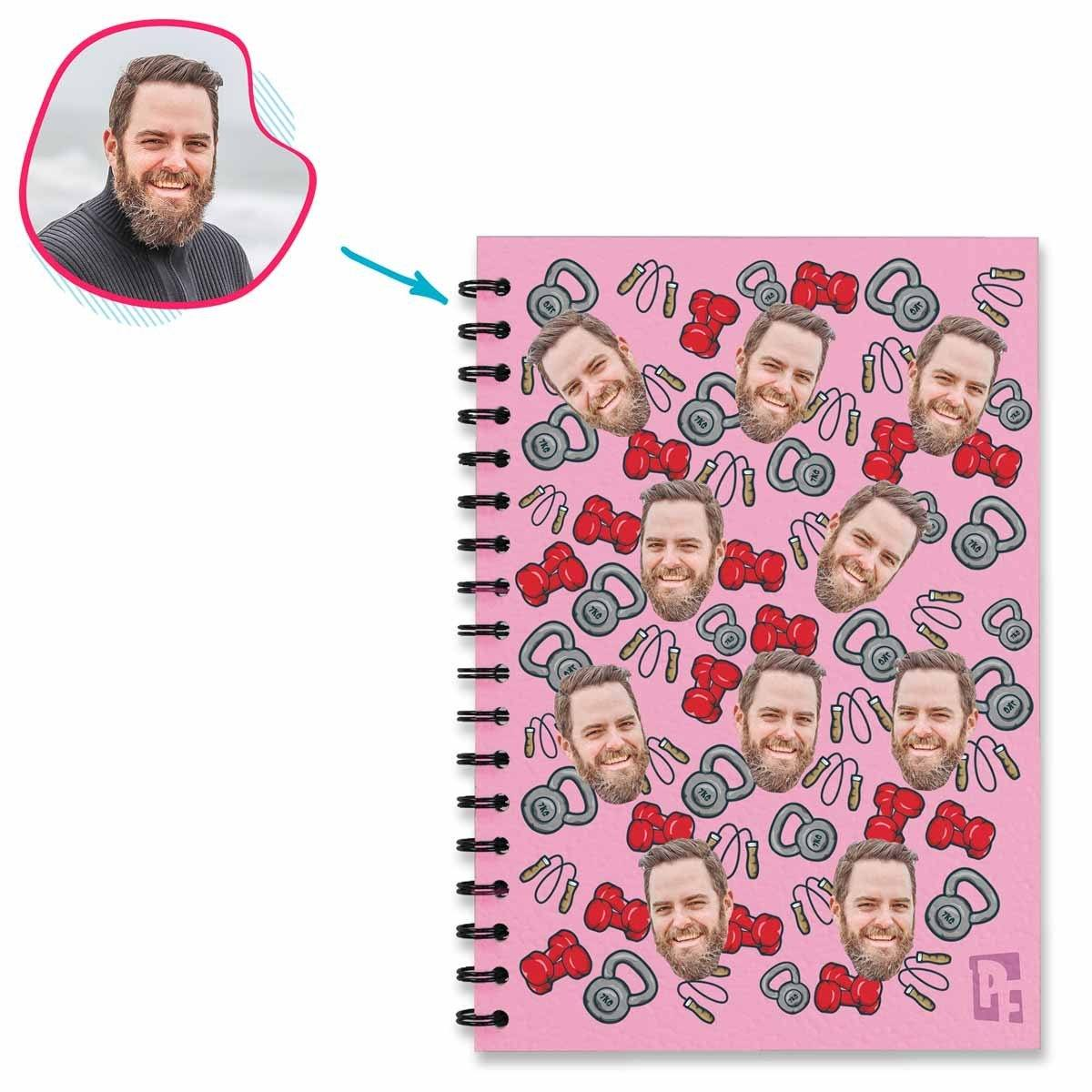 pink Gym & Fitness Notebook personalized with photo of face printed on them