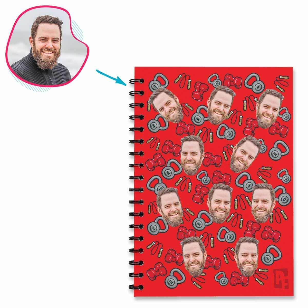 red Gym & Fitness Notebook personalized with photo of face printed on them