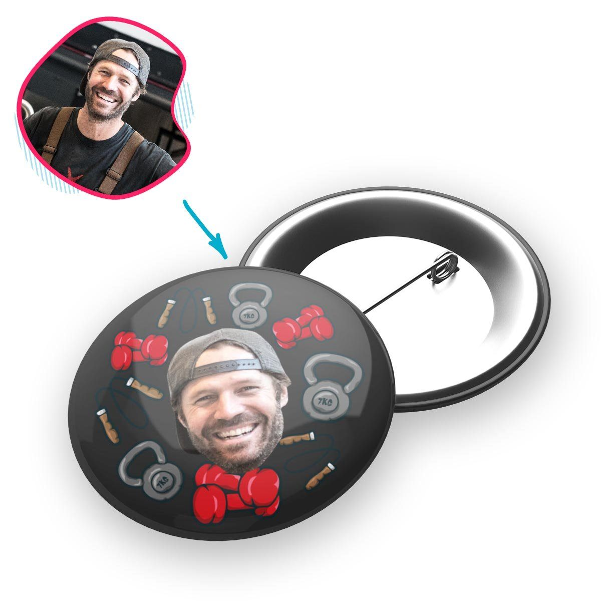 dark Gym & Fitness pin personalized with photo of face printed on it