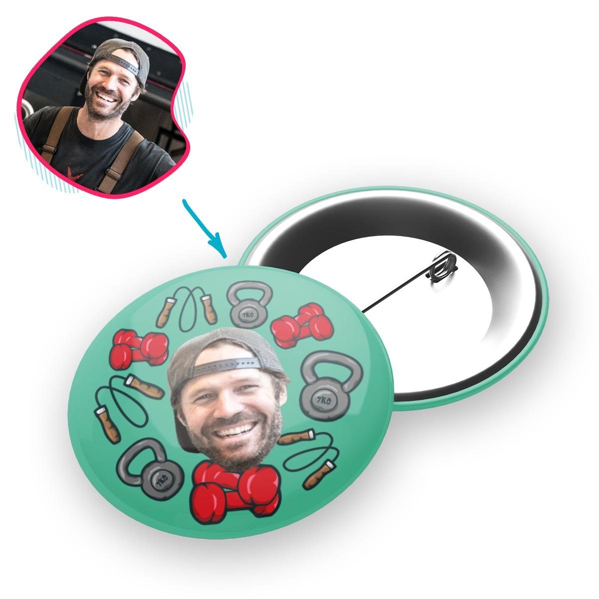 mint Gym & Fitness pin personalized with photo of face printed on it