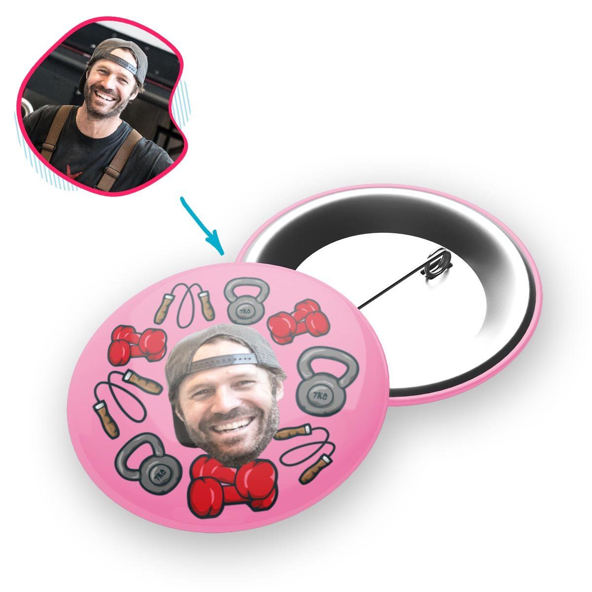 pink Gym & Fitness pin personalized with photo of face printed on it
