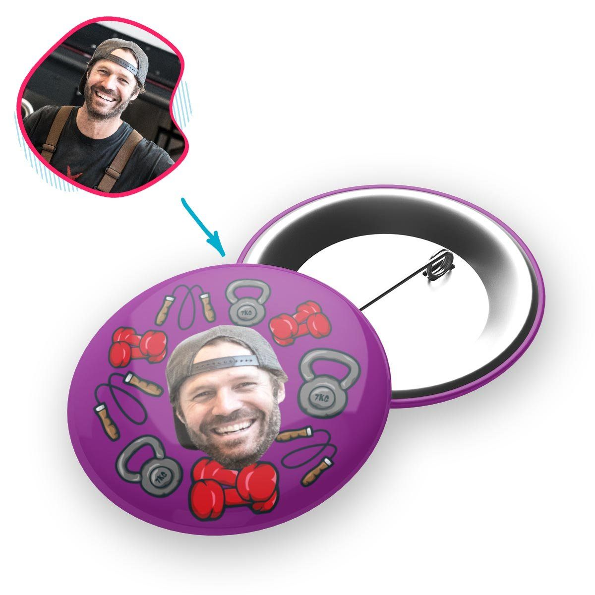 purple Gym & Fitness pin personalized with photo of face printed on it