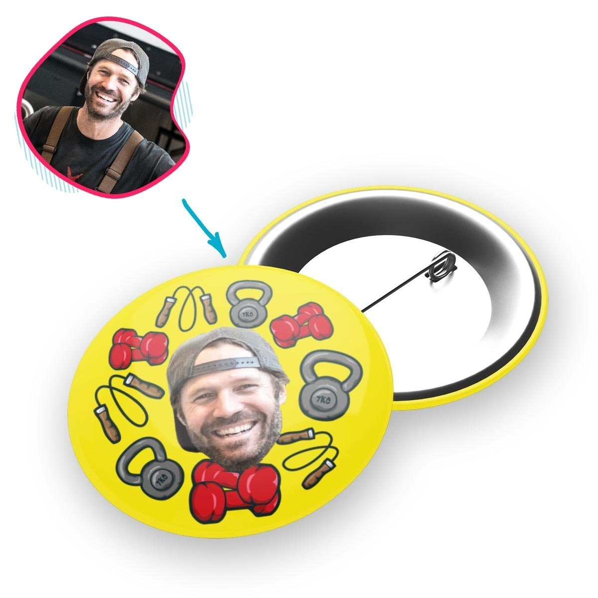 yellow Gym & Fitness pin personalized with photo of face printed on it